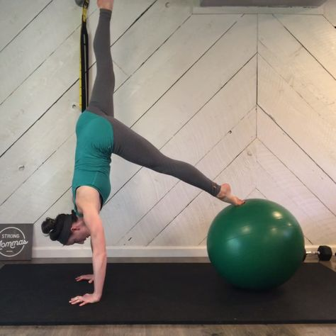 Ready for a challenge? Try this physioball body saw into single leg pike! (By Megan Dahlman from Strong Mommas)