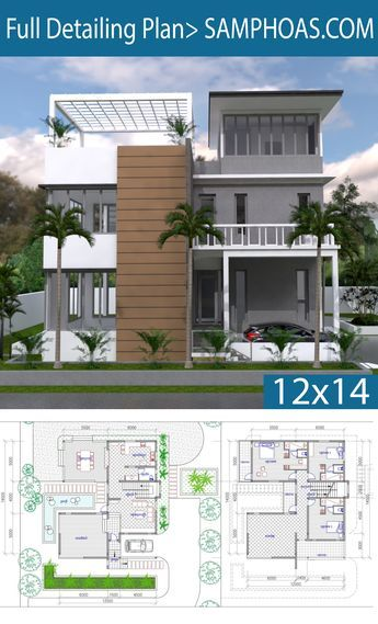 Home Design 11x15m With 4 Bedrooms Dream House Exterior House Plans Modern House Design