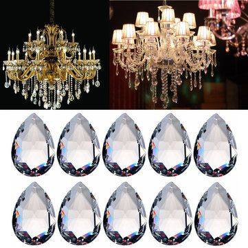 10Pcs Champagne Chandelier Crystal Lamp Parts Glass Prisms 38mm Pendent Drops