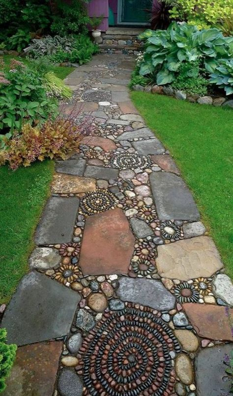 How to Make a Pebble Mosaic - house crush.ideas for our next home - How to Make a Pebble Mosaic Mixed material mosaic walkway. Mosaic Walkway, Pebble Mosaic, Stone Mosaic, Rock Walkway, Walkway Ideas, Path Ideas, Rock Mosaic, Pebble Stone, Walkway Designs