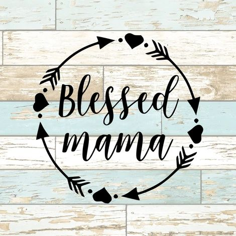 Blessed Mama Circle with Arrows and Hearts Vinyl Decal Sticker