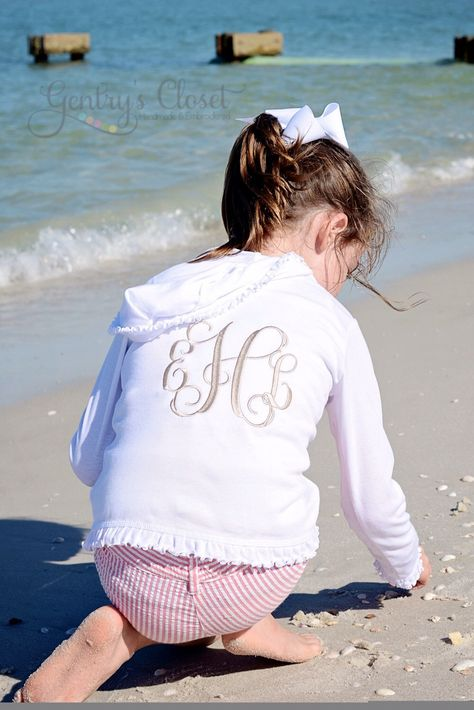 Monogrammed Ruffle Sweatshirt. Lightweight Hoodie for baby, toddler, little girl with monogram. Cute boutique clothing. Summer full zip up. by GentrysCloset on Etsy https://www.etsy.com/listing/188779146/monogrammed-ruffle-sweatshirt