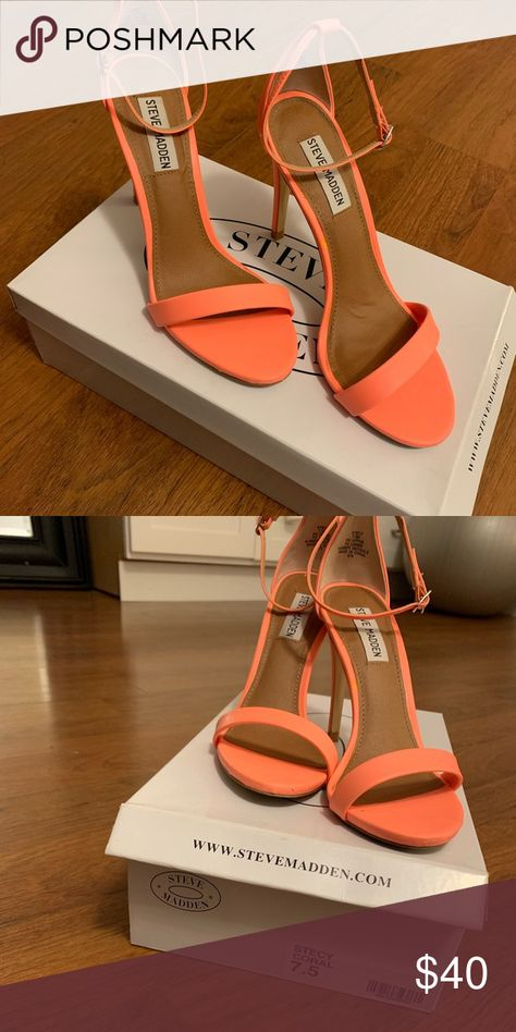 eec782fa71b Steve Madden Stecy heels 75 coral My Posh Closet Outfits