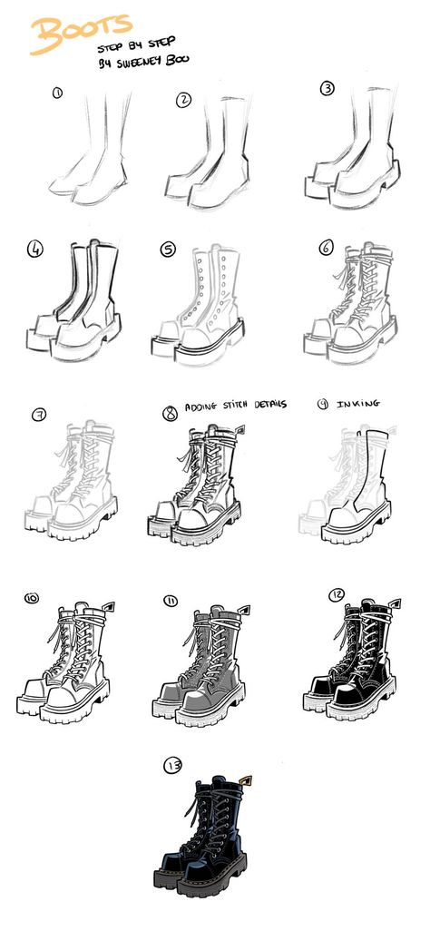 Did a boots drawing step by step 🥾! Let me know if there's other kind of step by step/ tutorials you'd like to see! Did a boots drawing step by step 🥾! Let me know if there's other kind of step by step/ tutorials you'd like to see! Drawing Body Poses, Drawing Reference Poses, Drawing Tips, Drawing Techniques, Drawing Ideas, Anatomy Reference, Pencil Art Drawings, Art Drawings Sketches, Easy Drawings