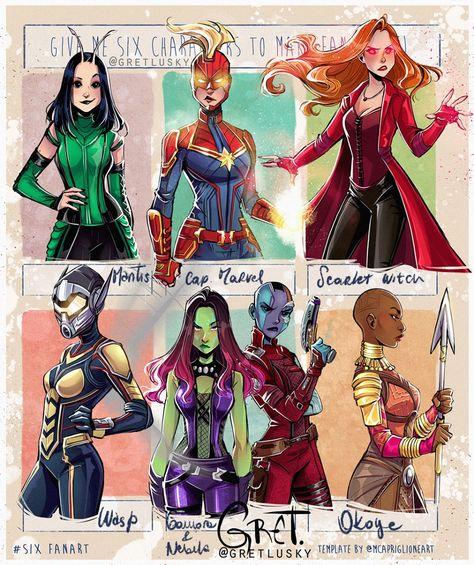 Six fanarts challenge- ✨Marvel edition 💫 Choose your fighter! Captain Marvel, Marvel Avengers, Marvel Comics, Avengers Team, Marvel Women, Marvel Girls, Art Style Challenge, Arte Sketchbook, Marvel Fan Art