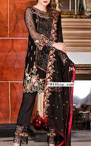 ca656a26a6e0 Black Chiffon Suit | Buy Maryams Pakistani Dresses and Clothing online in  USA, UK Designer
