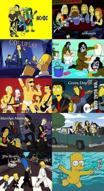 The simpsons and amazing bands..