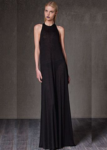 fb39f7f8d26 Alexis Mikel Long Dress with Leather Racerback in Black