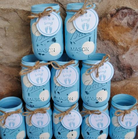 Mason Jar Centerpieces, Baby Shower Centerpieces, Blue and White Polka Dots, Shabby Chic Distressed Painted Mason Jars, Baby Shower Vases