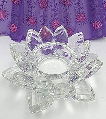 SunRise 4.5 Crystal Clear Lotus Candle Holder Crystal Clear