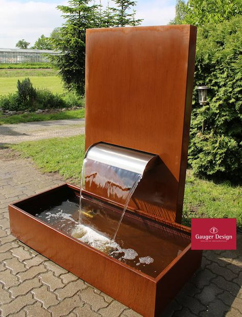 Http Www Designer Brunnen De Cortenstahl Wasserfall Antonia Htm