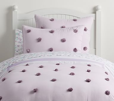 Washed Sateen Pom Pom Quilt Kids Bedroom Designs Bedding Sets Girl Beds