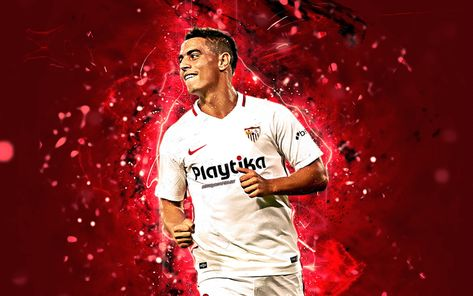 Download wallpapers Wissam Ben Yedder, abstract art, French footballer, Sevilla FC, La Liga, Ben Yedder, neon lights, soccer, LaLiga