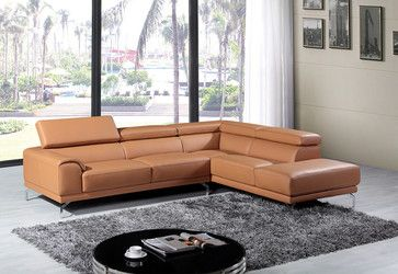 Tufted Sofa Divani Casa Wisteria Modern Leather Sectional Sofa Camel Right contemporary Sectional Sofas LA Furniture Store SEATING Pinterest Leather