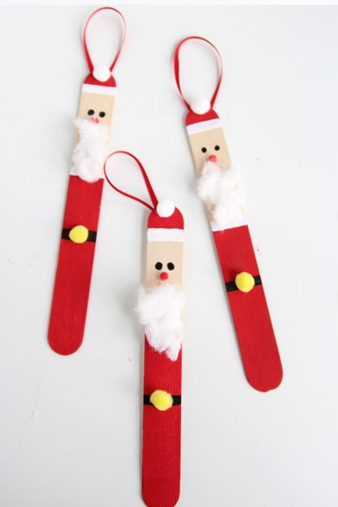Create a DIY santa ornament out of popsicle sticks. These are SO CUTE and super easy to make!, Popsicle Stick Santas Create a DIY santa ornament out of popsicle sticks. These are SO CUTE and super easy to make! Kids Christmas Ornaments, Easy Christmas Crafts, Santa Ornaments, Christmas Fun, Christmas Decorations Diy For Kids, Christmas Projects For Kids, Christmas Activities For Children, Christmas Crafts For Kids To Make At School, Kids Ornament
