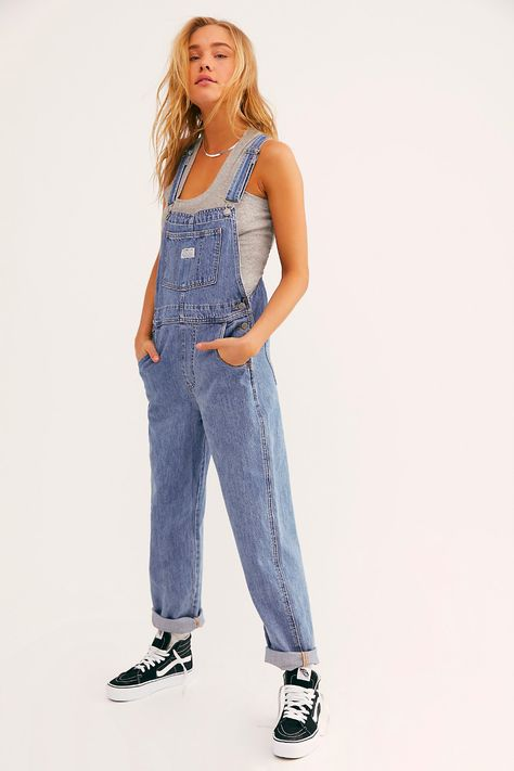 Levi Vintage Overall by Levi's at Free People Denim, Light Wash, XS Denim Overalls Outfit, Cute Overalls, Outfits With Overalls, Overalls Fashion, Womens Denim Overalls, Overalls Vintage, Vintage Levis, Carhartt Overalls Women, Romper Outfit
