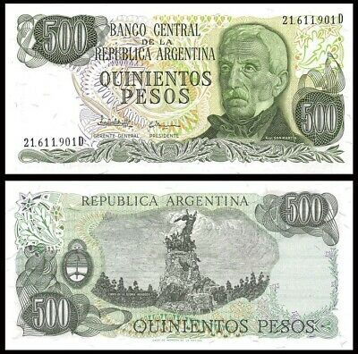 Argentina 500 Pesos 1977 1982 P 303c San Martin Mendoza Unc World Currency In 2020 Bank Notes South America Map Banknotes Money