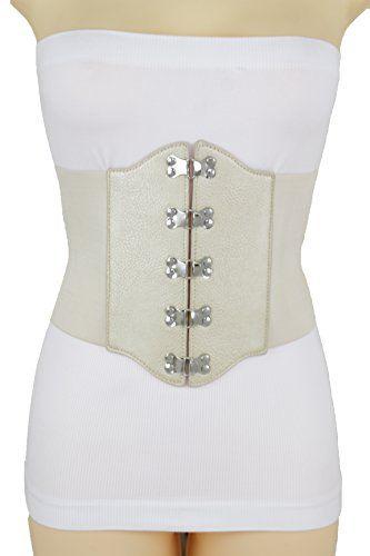 Women Belt High Waist Black Faux Leather Wide Corset Stretch Fabric Shape S M