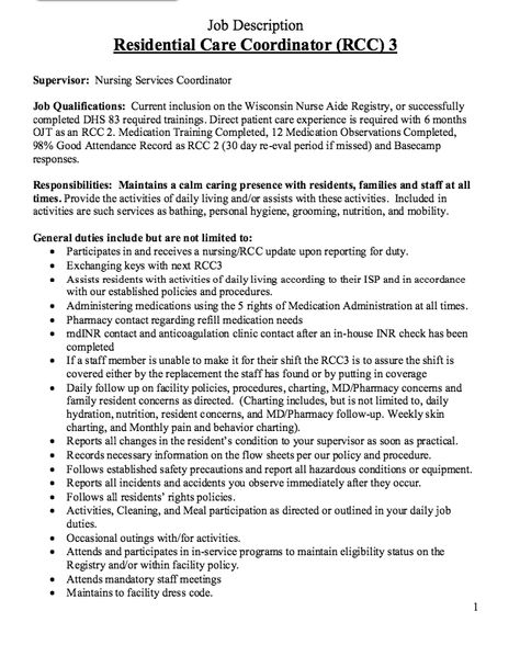 Residential Care Coordinator Job Description -   - supervisor job description