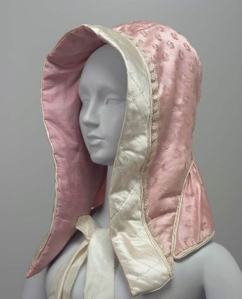 1850 silk hood, figured silk fashion fabric and plain silk lining