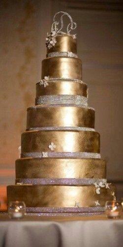 7-tiered Gold wedding cake