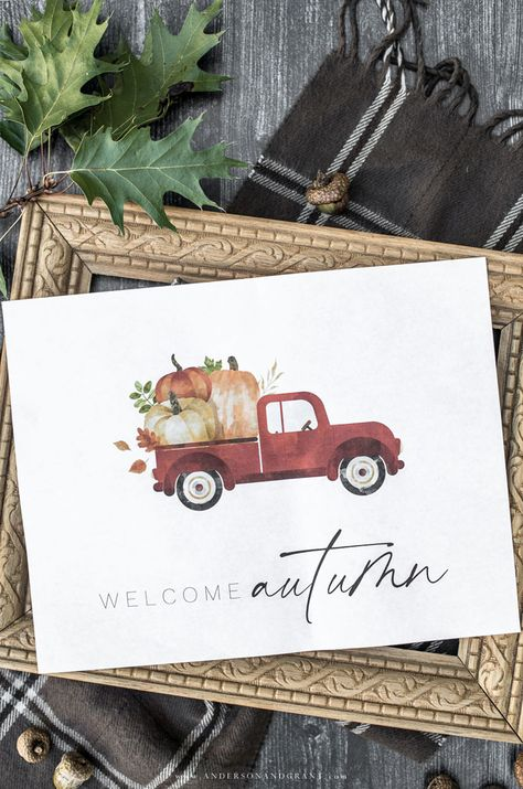 Decorate your home without spending a dollar this fall with this free printable artwork featuring a red pickup truck filled with pumpkins. Free Printable Artwork, Free Printables, Autumn Display, Leaf Wall Art, Autumn Crafts, Autumn Art, Fall Projects, Diy Projects, Fall Home Decor