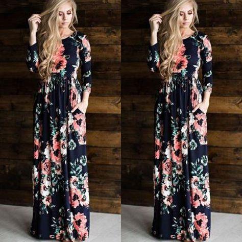 New Casual Women Summer Floral Long Dress High Waist Female Long Sleeve  Party Dress Women BOHO Long Maxi Dress - serenityboutique 03d9ea435868