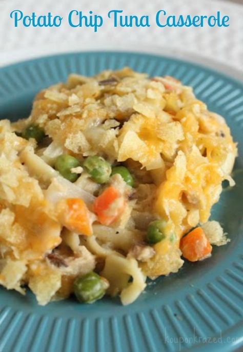Easy Potato Chip Tuna Casserole Recipe. A classic. Gotta have that potato chip topping on the ole' tuna noodle casserole.