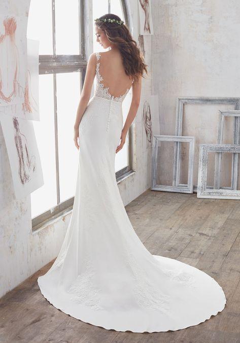 Blu by Morilee Marisol 5503 Crepe Chiffon Sheath Wedding Dress - Off White | Wedding dress train