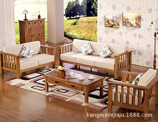 Simple All Solid Wood Oak Sofa Wooden Sofa Set Living Room Furniture With A Sponge Pad Back Jpg 318 246 Wooden Sofa Set Wooden Sofa Designs Simple Sofa