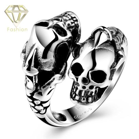 >> Click to Buy << Unique Design Punk Men Jewelry Snake Shaped with Dual Skull Head 316L Stainless Steel Rings for Men Boys US Size 8-11 Wholesale #Affiliate
