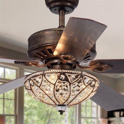 Tarudor 3-Light Crystal 4-blade Dark Wood 52-in Ceiling Fan Antique Bronze