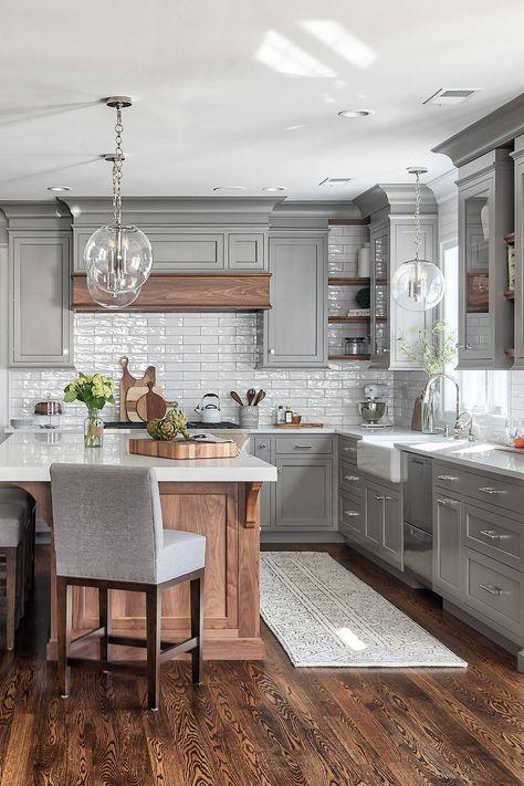 Kitchen Cabinet Colors, Kitchen Cabinet Inspiration, Shaker Kitchen Cabinets, Kitchen Redo, Cabinet Ideas, Grey Kitchen Floor, Dark Grey Kitchen Cabinets, Kitchen Cabinets With Crown Molding, Different Color Kitchen Cabinets