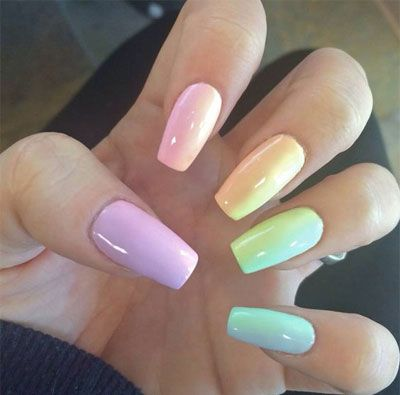 27 Easy Pastel Rainbow Nails To Copy Get These Colors Rainbow Nails Matte Nails Design Feet Nails
