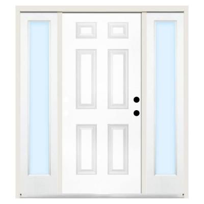 Steves Sons 60 In X 80 In Premium 6 Panel Left Hand Primed Steel Prehung Front Door W 10 In Clear Glass Sidelite And 4 In Wall St60 Pr S10cl 4lh The Ho Steel Entry