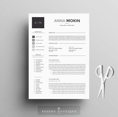 4PAGE CV / modèle de CV  lettre de motivation par TheResumeBoutique