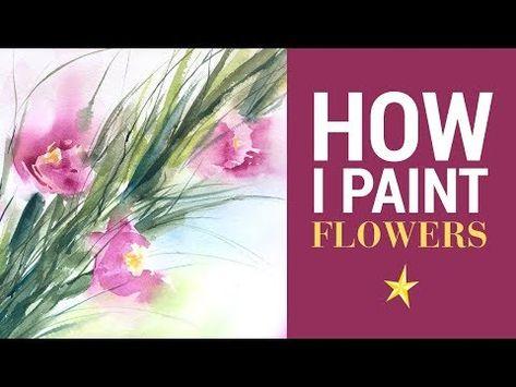 Des Fleurs A L Aquarelle Glaieuls Youtube En 2020 Peinture