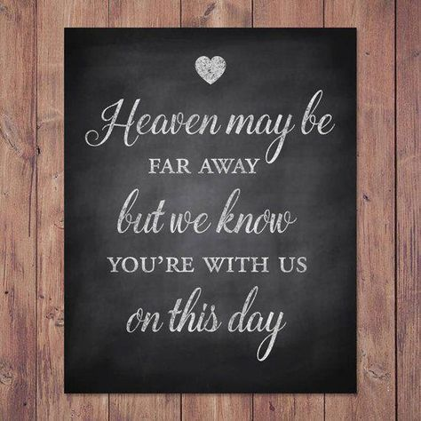 This Rustic wedding memorial sign heaven may be far away but we is just one of the custom, handmade pieces you'll find in our signs shops.