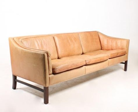 50b55868870 Vintage Danish Three-Seater Leather Sofa from Grant