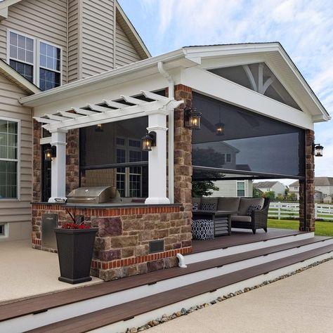Screened Porch Designs, Backyard Patio Designs, Screened In Porch, Patio Ideas, Backyard Porch Ideas, Front Porches, Outdoor Kitchen Patio, Outdoor Rooms, Outdoor Living