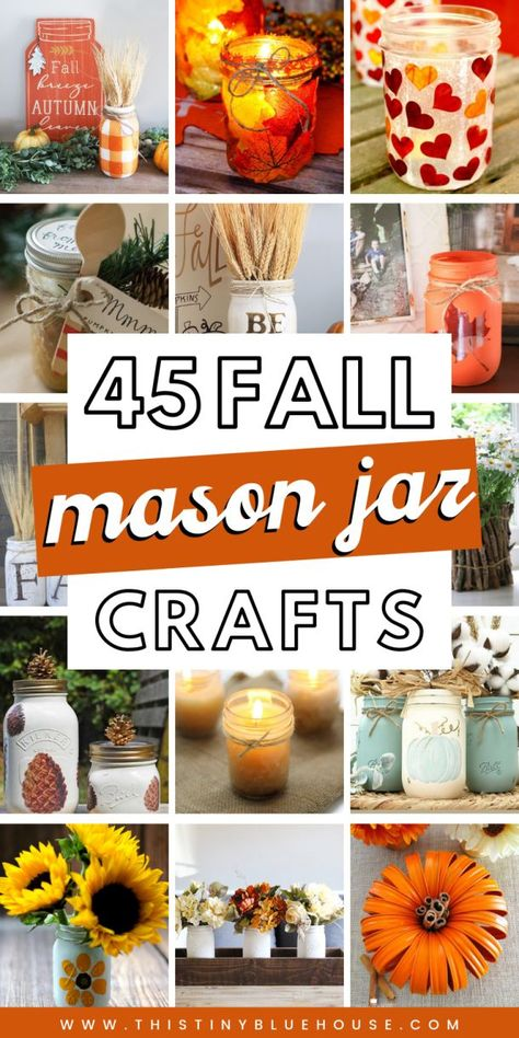Best Fall Mason Jar Crafts - This Tiny Blue House : Get your home fall ready with these best fall mason jar crafts. Easy to make these best fall mason jar crafts are a fun way to glam up your home for autumn. Fall Mason Jars, Mason Jar Gifts, Mason Jar Diy, Mason Jar Centerpieces, Mason Jar Candles, Mason Jar Thanksgiving Centerpieces, Scented Candles, Floating Candles, Mason Jar Projects