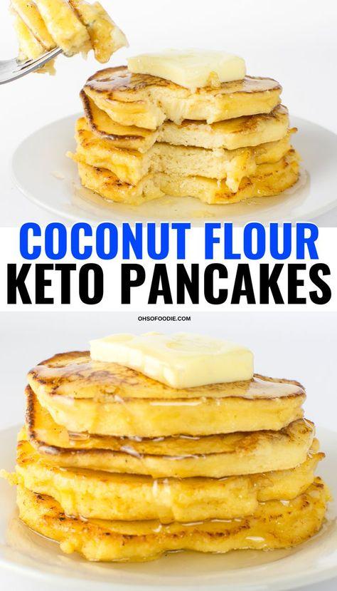 3 Ingredient Keto Coconut Flour Pancakes - Oh So Foodie Low carb Fluffy keto coconut flour pancakes Keto Pancakes Coconut Flour, Best Keto Pancakes, No Flour Pancakes, Low Carb Pancakes, Keto Cream Cheese Pancakes, Almond Flour, Low Carb Dinner Recipes, Low Carb Desserts, Keto Recipes