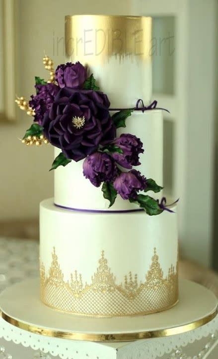 Alluring Purple Wedding Cake Deep Purple White And Gold