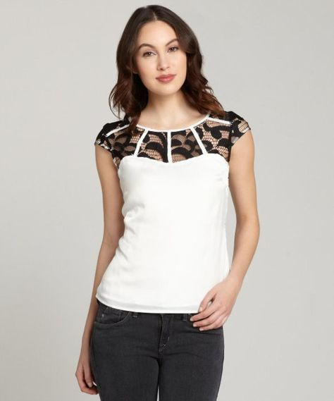 black and white Renee lace accent short sleeve top http://picvpic.com/women-tops-blouses-shirts/black-and-white-renee-lace-accent-short-sleeve-top?ref=QA8LwA