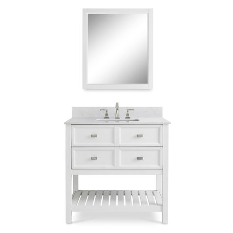 Scott Living Canterbury White Single Sink Poplar Bathroom Vanity With Mirror And Engineered Stone Top Common 36 In X 22 Actual