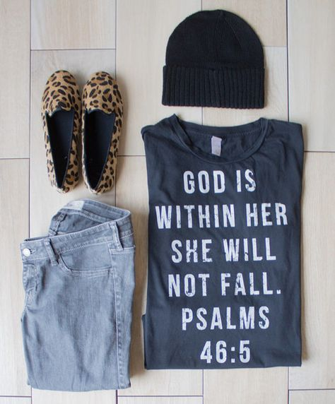 "just listed - short sleeve tee ""God is within her she will not fall"" shop.thehouseofbelonging.com"