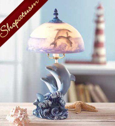 Dancing Dolphin Figurine Decorative Table Lamp Night Light Lamp Decorative Table Lamps Dolphin Decor