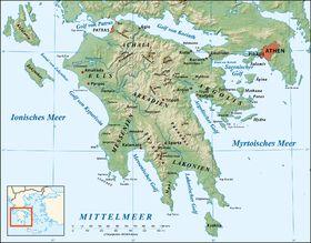 Mapa fsico de la pennsula Peloponeso  EuropaGrecia  Pinterest