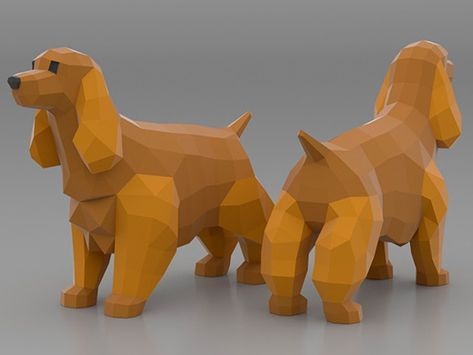 Socker Spaniel Papercraft 3d Papercraft Build Your Own Low Poly