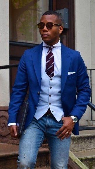 Look de moda: Blazer azul, Chaleco de vestir celeste, Camisa
